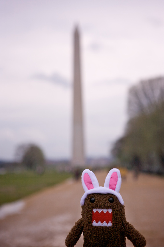 A small little stuffed creature- squarish in shape with brown fur, cute black eyes, and a big open red mouth with adorable little pointy teeth- is seen near the lens standing in front of the Washington Monument- set farther back and blurred out. The little adorable stuffed creature is waring a set of pink and white bunny ears sized-to-match.