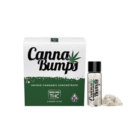 A box and glass vial of white powder sits on an equally-white seamless background. The product is called 'Canna Bumps' and is designed to make the concentrates within look like cocaine.